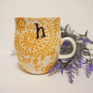 Anthropologie Homegrown Monogram Mug H Floral Boho